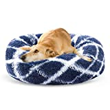 SHU UFANRO Dog Bed Comfortable Oval Dog Beds for Medium Large Small Dogs Calming Self Warming Washable Orthopedic Dog Bed Improved Sleep Pet Bed in Multiple Sizes(35', Blue)