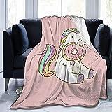 Manta de Felpa de Franela con Unicornio arcoíris y Donut para Dormir, Divertida Manta de...