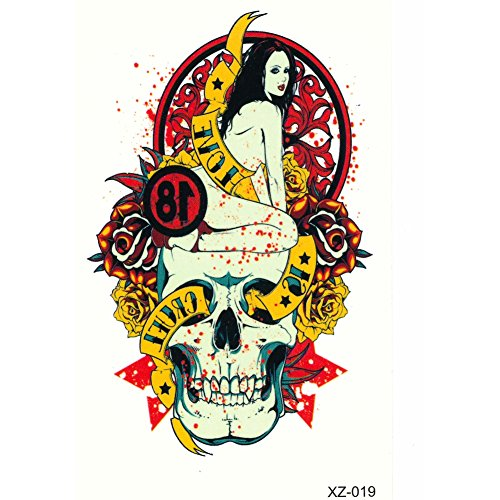 JUSTFOX - Temporäres Tattoo Love is cruel Totenkopf Rockabilly