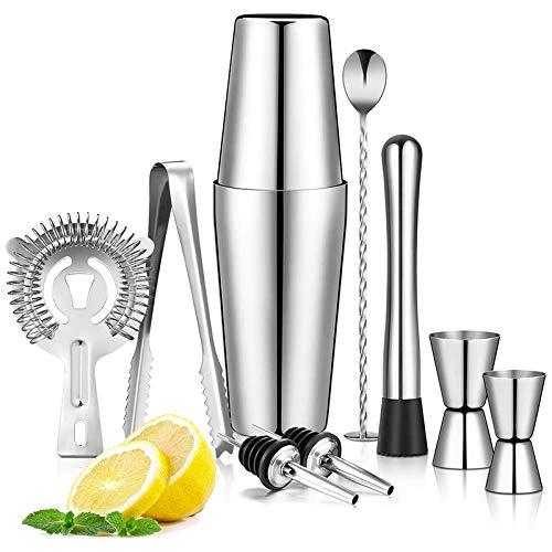 Katigan Boston Shaker Juego de Coctelera de 9 Piezas, Martini Shaker, Kit de Barman con Colador Hawthorne/Pinza para Hielo
