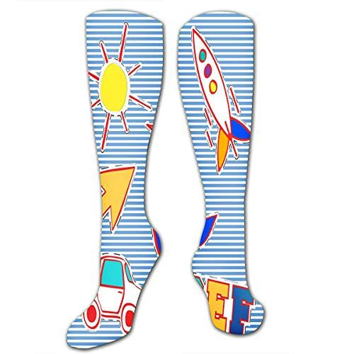 txregxy Compression Socks For Women Men Vintage Stamp Badge Kid Toy Image Relax Casual S