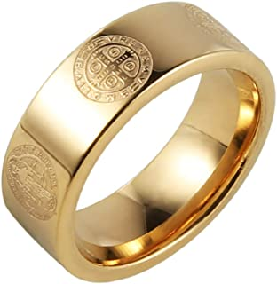 Mens 8mm St Benedict Exorcism Ring Stainless Steel Catholic Roman Cross Demon Protection Ghost Hunter Gold Silver