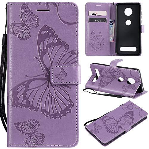 SATURCASE Motorola Moto Z4 Play Hülle, Schmetterling PU Lederhülle Magnetverschluss Brieftasche Kartenfächer Standfunktion Schutzhülle Handyhülle Tasche Hülle für Motorola Moto Z4 Play (Lila)