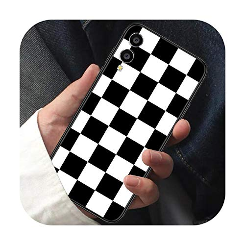 Carcasa de ajedrez de color negro y blanco para Huawei Honor 6 7 8 A S 9 X Mate 10 20 30 i Lite Pro Y7 2019 carcasa negra Fashion Cell-1-Honor 7a 5.45