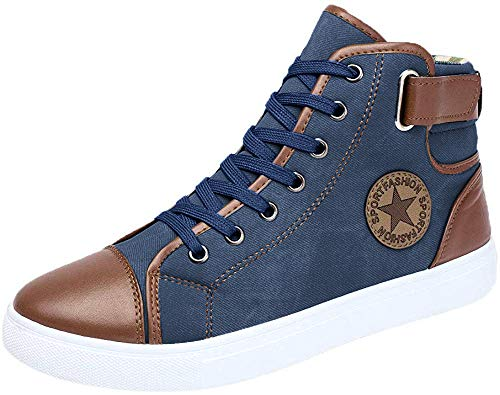 Limsea Men Women Causal Shoes Lace-Up Ankle Boots Shoes Casual High Top Canvas Shoes Blue