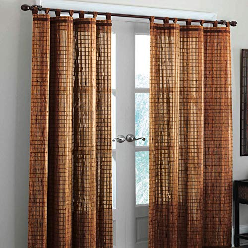 BrylaneHome Bamboo Tab-Top Panel Curtain Window Drape - 42I W 63I L, Honey Oak Brown