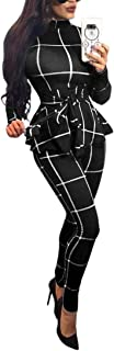 Women Bodycon Jumpsuit Long Sleeve Plaid High Waist Belted Long Pants Romper