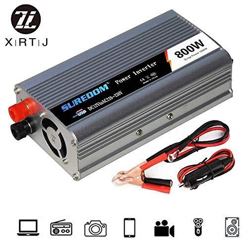 HHDM Spannungswandler 800W Wechselrichter Power Inverter 12V 24V 220V Reiner Sinus mit Steckdose und USB für Auto,Wohnwagen,Boot,Camping