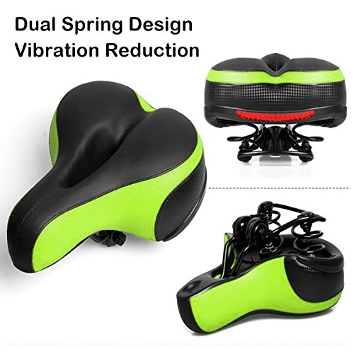 OUTERDO Fahrradsattel(26 * 21cm) MTB Fahrradsitz mit Schlagfestem Design und Großem Kissen Grün(Geeignet für Druchmesser der Sattelstütze:<31.6mm