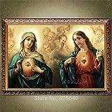 Carteles de Refosian Cristo Jesús y la Virgen S Sagrado Corazón Arte Decoración Pintura Impresión impresa en lienzo Arte Decoración del hogar 42X60Cm