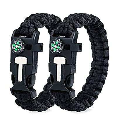 WEREWOLVES Survival Paracord Bracelets,Professional Personal EDC Tactical Bracelet,Multifunction Camping Hiking Gear with Compass, Fire Starter, Whistle and Emergency Knife (Black/Black)