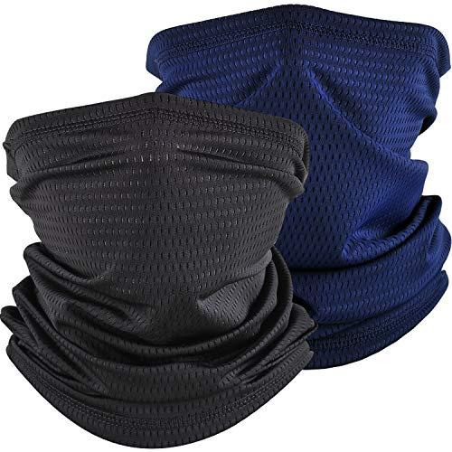 Cooling Neck Gaiter Face Cover Mask Summer Breathable Dust UV Bandana Scarf for Men Women Fishing Running Cycling (2PCS Mesh Black+Navy)