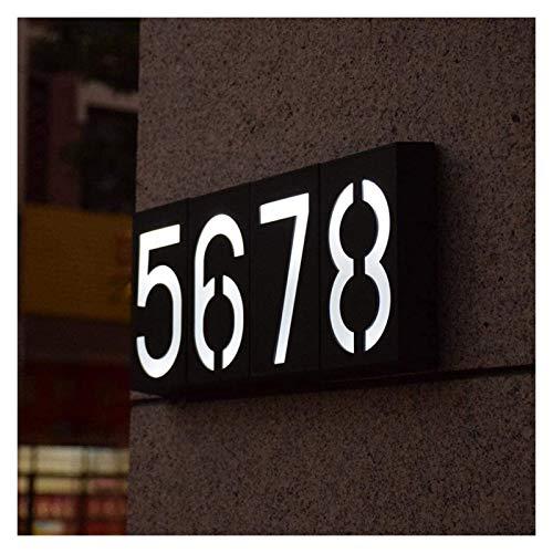 TTW Lámpara de Pared LED 6 Leds Casa Número Puerta Puerta Luz Número Número Signo de Puerta Solar Lámpara de Puerta de Puerta de Potencia Solar con batería Recargable (Color : Number 8)