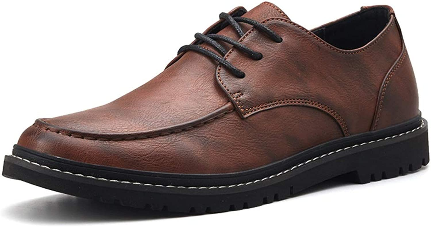 JIALUN-shoes Men's Simple Fashion Oxford Casual Low-top Light Comfortable Lacing British Style Formal shoes