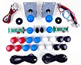 Digitalkey Set 2 Reproductores Arcade Pro para gabinete Mame - Controlador USB Joystick 16 Botones de 30 mm + 2 LED y Cables Brillantes de 5V (Kit Azul)