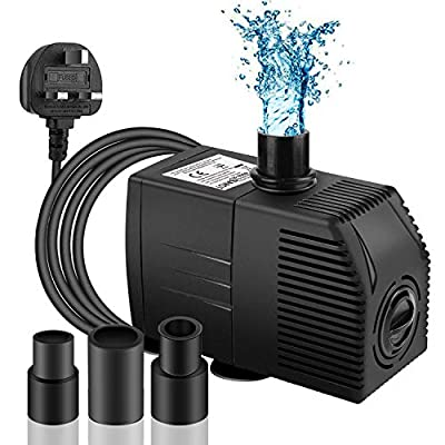 BARST 600L/H Submersible Pump with Filter (12W?6ft), Ultra Quiet Water Pump for Fountains, Pool, Fish Tank, Pond, Hydroponics, Statuary with 4 Srtong Suction Cups,3 Nozzles …