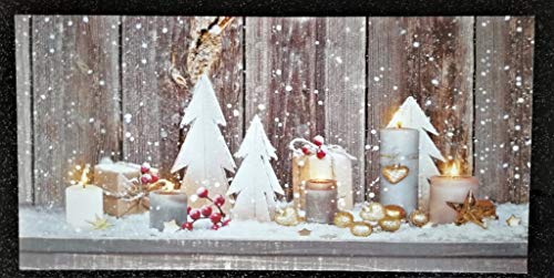 Geschenkestadl Led Wandbild Weihnachten 5 Kerzen 30cm x 60cm Merry Christmas