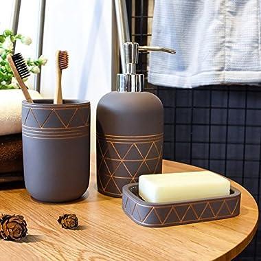 Satu Brown Bathroom Set Bathroom Accessories 3 Pieces Bathroom Soap Dispenser, Toothbrush Holder, Soap Dish Luxury Set for Bathroom Decor and Home Gift