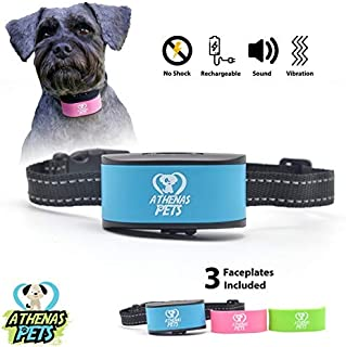 Athenas Pets Dog Bark Collar, Humane Bark Collar Using Beep, Vibration, No Shock, Rechargeable Bark Collar All Breeds, Bar...