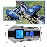 Huashen USB Rechargeable Bike Light Set with Taillight & Speedometer & Odometer & Horn/Alarm Bell Waterproof Bike Front Light, Powerful Headlight for All Mountain & Road Bike