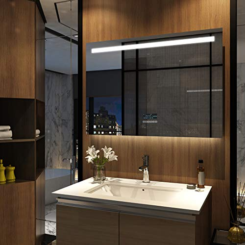 Meykoers LED Badspiegel mit Beleuchtung 100x70cm mit Touch-Schalter, Bluetooth Lautsprecher und Anti-Beschlag, Badezimmerspiegel Wandspiegel Kaltweiß Energieklasse A++
