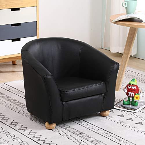 Kindersessel, Kindersessel, PVC/echtes Leder, Sofa mit Holzrahmen, für Mädchen, Jungen, Sitzstuhl, Schlafzimmer, Spielzimmer, Schwarz
