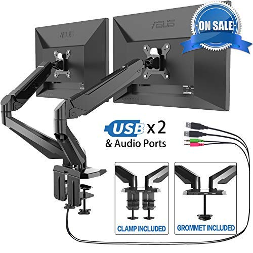 Dual Monitor Stand - FEZIBO Adjustable Full Motion Monitor Mount, C Clamp and Grommet Mount for 2 Screens from 17 to 29 inches Gas Spring LCD Computer Screens