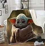 Snongh La Manta Mandalorian Baby Yoda,Flannel Lanzar Manta De Arte,Fuzzy Velvet...