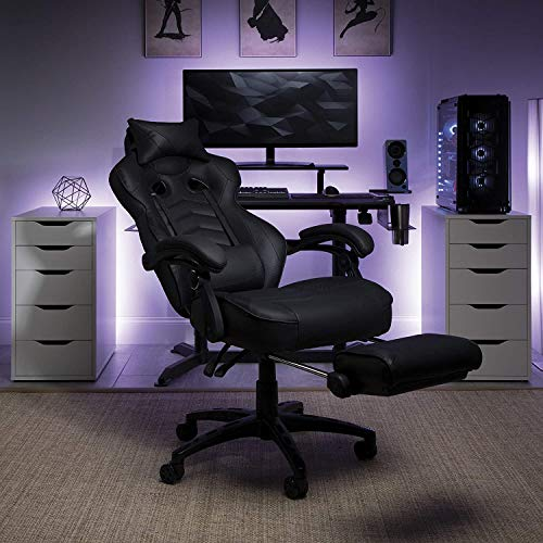 PROSFIA Computer Gaming Chair, Ergonomic High Back Computer Chair with 2D Armrests, Swivel Drafting Task and Tilt Lock, Height Adjustment, Hold Up to 350lbs (Black)
