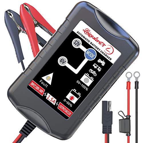 Autobatterie Ladegerät 6V/12V LST Vollautomatisches Batterieladegerät Erhaltungsladegerät Kraftpaket Autobatterie Batterie Ladegerät für Auto Motorrad KFZ PKW-EU Stecker