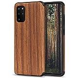 TENDLIN Kompatibel mit Samsung Galaxy S20 Plus Hülle Holz Schutzhülle & TPU Hybrid Handyhülle (Rotes Sandelholz)