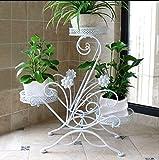 Soporte de hierro flor Estante de flores de varios pisos de interior, hierro forjado, balcón, sala de estar, orquídea, rábano, piso de rábano, macetero Balcón estantes de plantas ( color : Blanco )