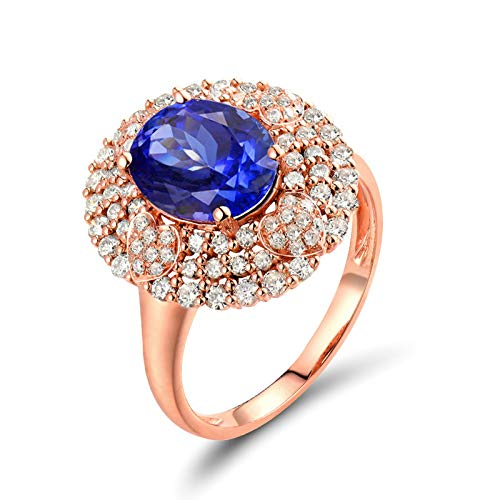 Beydodo Anillo Mujer Boda,Anillos de Oro Rosa 18 Kilates Mujer Oro Rosa Azul Oval Tanzanita Azul 2.09ct Diamante 0.71ct Talla 18,5(Circuferencia 58MM)