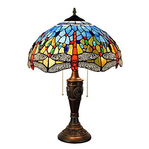 QJUZO Lámpara De Mesa Tiffany 16 Pulgadas Patrón De Libélula Azul Europea Vintage Pastoral De Cristal Manchada Retro Lámpara De Mesita Dormitorio Salon Lámpara De Sobremesa E27