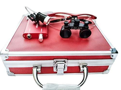 Global-Dental 2.5X Surgical Binocular Loupes Optical Glass+LED Headlight +Aluminum Box Red