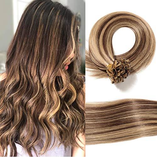 "S-noilite U Tip Hair Extensions Human Hair for Women Pre Bonded Nail Tipped Hair Piece Italian Keratin U Tip Fusion Extensions Silky Straight 100 Strands 24""-50g (#4P27 Medium Brown&Dark Blonde)"