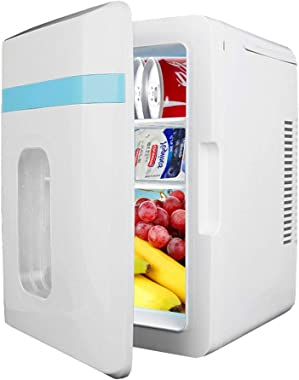Portable Mini Fridge for Bedrooms Quiet 10L, Small Fridge for Car with Cooling And Warming Function, AC+DC Available in All Seasons