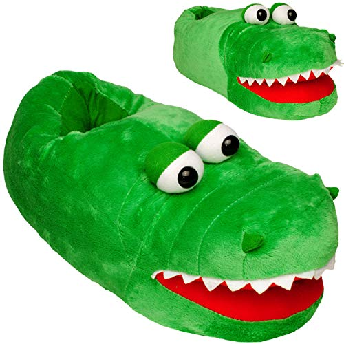 alles-meine.de GmbH Hausschuhe / Pantoffel -  Krokodil - Alligator  - Größe Gr. 33 / 34 / 35 / 36 / 37 / 38 EU_ schön warm _ Plüschhausschuh / Kuschel / Tier - Tiere - für Kind..