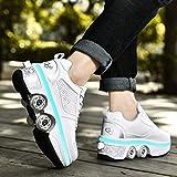 YXHUI Chaussures A roulettes, LED Deform Wheels Skates, Roller Shoes Casual Sneakers, Walking Skates Hommes Femmes Patins à Quatre Roues,Silver(Lowtop)-EU38/UK4.5