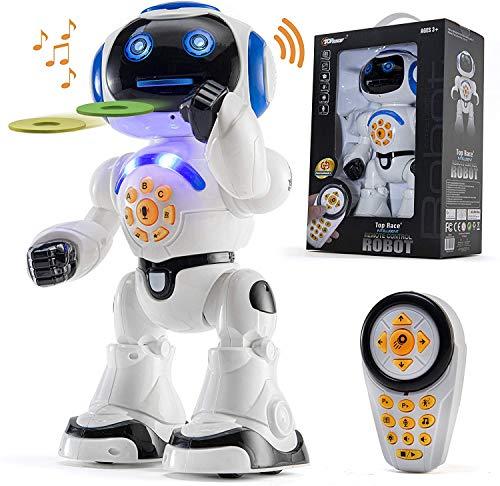 Top Race Robot parla di giocattoli, cammina, telecomando, danza, canta, leggi storie, teste la matematica, trasmetti dischi e imita la voce (parla solo inglese) P2