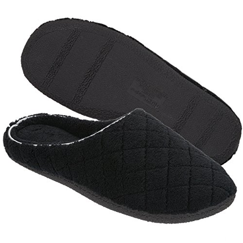 Dearfoams Women's Quilted Terry Clog Mule Slipper – Padded Terrycloth Slip-Ons with Skid-Resistant Rubber Outsole, Black, Small/5-6 M US