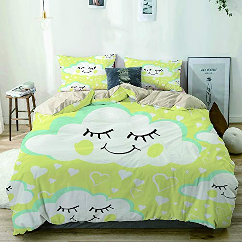 MANISENG Microfiber Duvet Cover Sets,Beige,Smiling Cloud with Dropping Hearts Cute,Decorative 3 Piece Bedding Set with 2 Pillow Shams Single Size