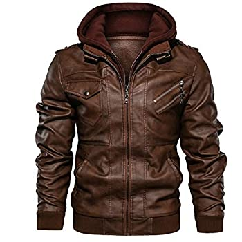 JYG Men s Faux Leather Motorcycle Jacket with Removable Hood  Brown XX-Large