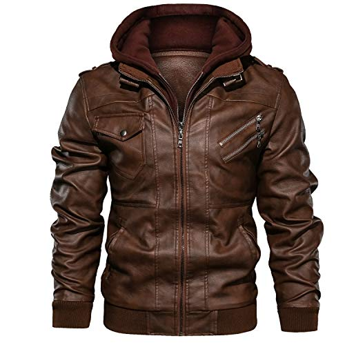 JYG Men's Faux Leather Motorcycle Jacket with Removable Hood Large Brown