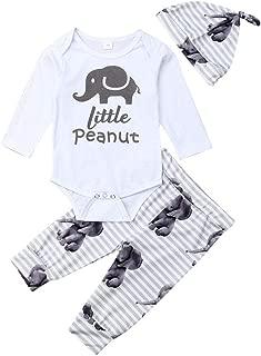 3PCS Newborn Baby Boys Outfit Cute Elephant Print Romper Bodysuit+Pant +Hat Clothes Set
