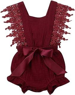 Glücklicher Käufer Baby Mädchen Leinen Bowknot Strampler Lace Floral Bodysuit Overall Outfit Set 0-24 Monate