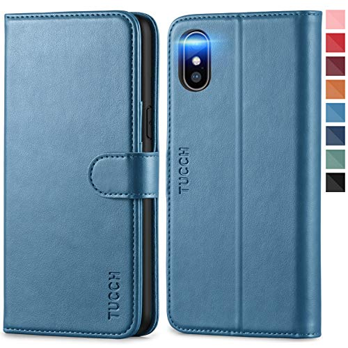 TUCCH iPhone XS Hülle [Weicher TPU] [RFID Schutz] [Aufstellfunktion] [Magnet], Handyhülle mit Kartenfach, Lederhülle Klappbar, Stoßfest Flipcase, Brieftasche für iPhone XS, (5,8 Zoll) Blau