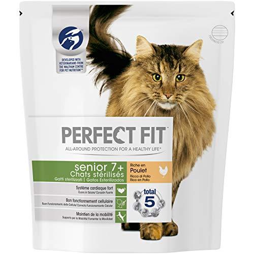 Perfect Fit Senior7+ - Croquettes pour chat senior stérilisé, riche en poulet, 4 sacs de 1,4kg