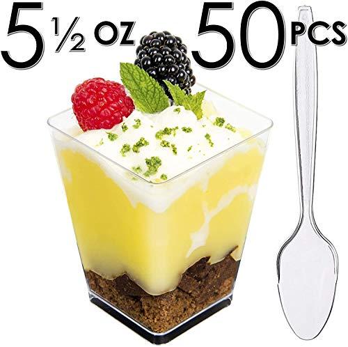 DLux 50 x 5 oz Mini Dessert Cups with Spoons, Square Large - Clear Plastic Parfait Appetizer Cup -...