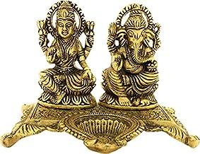 Lakshmi Ganesh Statue for Diwali Home Decoration Items puja Lakshmi Ganesh Murti Decorative Showpiece - 9 cm (Brass, Gold)